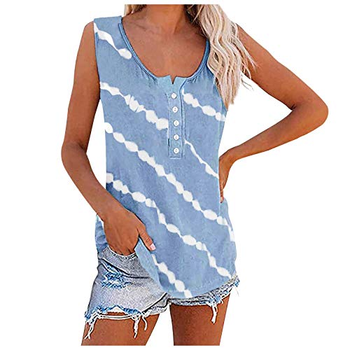 Plus Size Tank Tops for Women Summer Striped Button Loose Blouses Casual Workout Tanks T-Shirts, S-5Xl,d56 Light Blue