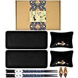 Package including: 2 sushi plates, 2 sauce dishes, 2 pairs of chopsticks and 2 chopsticks holders. The matte black ceramic plates and saucers are very textured. Japanese classic simple and elegant style that highlights Japanese culture is an exquisit...