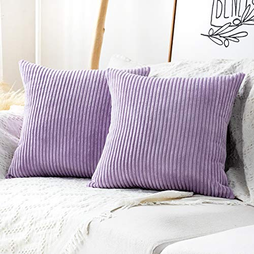MUDILY Pack of 2 Decorative Pillow Covers Decor Supersoft Striped Velvet Throw Toss Pillowcase Cushion Cover for Chair Sofa Bedroom Car, Lavender 16 x 16 inch 40 x 40 cm