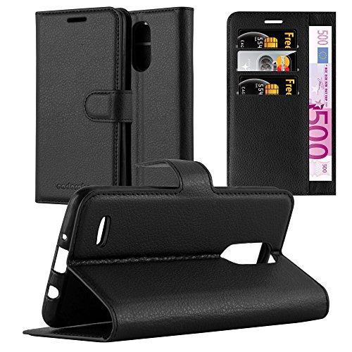 Cadorabo Hülle für LG K8 2017 in Phantom SCHWARZ - Handyhülle mit Magnetverschluss, Standfunktion & Kartenfach - Hülle Cover Schutzhülle Etui Tasche Book Klapp Style