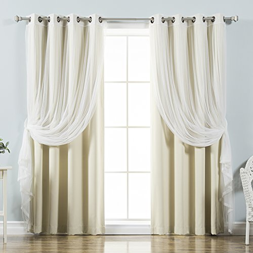Best Home Fashion uMIXm Tulle Sheer Lace and Blackout 4 Piece Curtain Set – Antique Bronze Grommet Top – Beige – 52' W x 84' L – (2 Curtains and 2 Sheer Curtains)