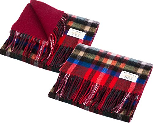I Luv Ltd Unisex Lambswool Double Faced Scarf In Exploded Stewart Royal Tartan Design 28cm Wide