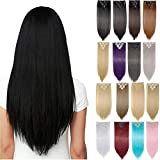 Clip in Full Head Hair Extensions 8 pieces/set Synthetic Fibre Natural Long Thick Hair Pieces Hairpiece Standard Weft Hair Extension for Women Lady Girls - 17 inch Curly dark brown