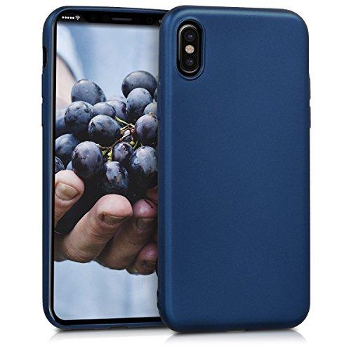 kwmobile Funda Compatible con Apple iPhone X - Carcasa móvil de Silicona - Protector Trasero en Azul Metalizado