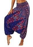 FEOYA Pantalon Sarouel Femme Harem Pants Femme Sarouel Sport Yoga Indien Danse Orientale Pantalon Large Femme Pantalon Fluide Femme Leger - Violet avec motifs multicolore - Taille unique