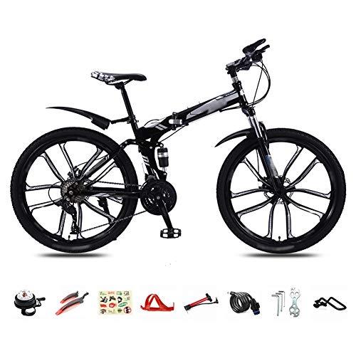 Nobuddy MTB Bici para Adulto, 26 Pulgadas Bicicleta de Montaña Plegable, 30 Velocidades Velocidad Variable Bicicleta Juvenil, Doble Freno Disco/Negro/A Wheel