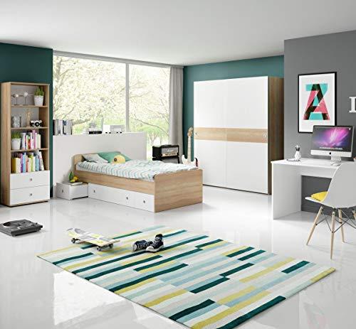 Jugendzimmer Wiggi Set 1 Eiche Sonoma Weiss 4tlg Kinderzimmer Jugendmöbel Set