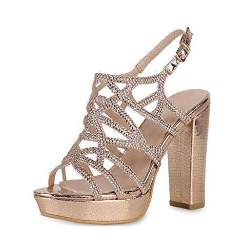 SCARPE VITA Damen High Heels Sandaletten Metallic Blockabsatz Party Schuhe Strass Abendschuhe Elegante Sommer Absatzschuhe 191211 Rose Gold 37