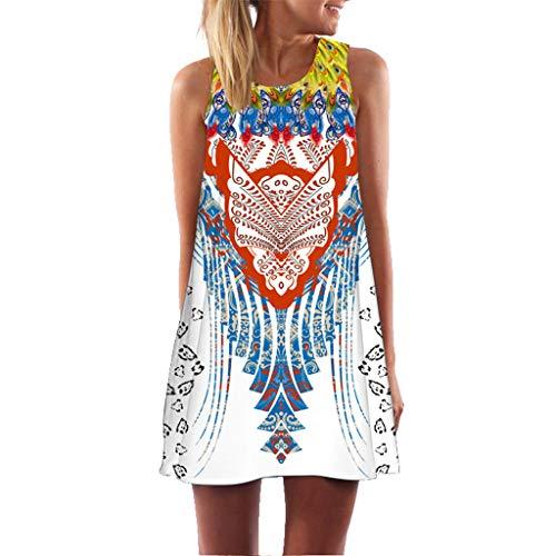 MOMOXI Vestido para Las Mujeres, Mini Vestido Corto Corto de Moda de la Vendimia de la impresión de la Playa...