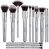 BS-MALL Juego de 13 brochas de maquillaje de primera calidad de plata sintética para mezclar colorete de cara en polvo y maquillaje