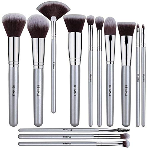 BSMALL 13 PCS Makeup Brush Set Premium Synthetic Silver Foundation Blending Blush Face Powder Brush Makeup Brush Kit