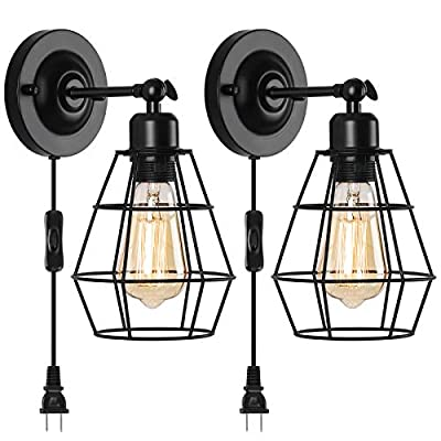 HAITRAL Plug in Wall Sconce, Vintage Swing Arm Wall Light E26 Base, Hardwired Industrial Wire Cage Wall Sconce Lamp with Plug in Cord for Bedroom, Headboard,Bathroom Vanity Mirror