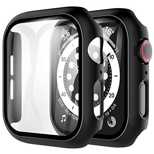 LK Compatible con Apple Watch Series 6/5/4/SE 40mm Protector de Pantalla,2 Pack,PC Funda, Cristal Vidrio Templado