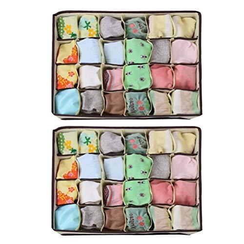 TIMESETL 2Stück Vliesstoff Aufbewahrungsboxen für Unterwäsche, 24 Zellen Faltbar Unterwäsche Organizer Schubladenunterteilungen zum Aufbewahren von Socken Schals Büstenhalter Krawatten
