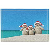 JHDF Christmas Family Snowman in Santa Hats at Tropical Beach Alfombras de baño Alfombrilla Antideslizante Entradas Alfombrilla de baño para niños 40 * 60 CM Accesorios de baño