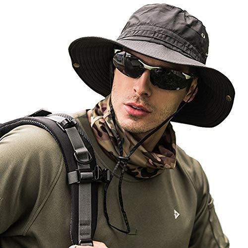 Peicees Mens Sun Hat Sun Protection UPF 50+ Fishing Hat Safari Hat for Women Men Boonie Hat Black