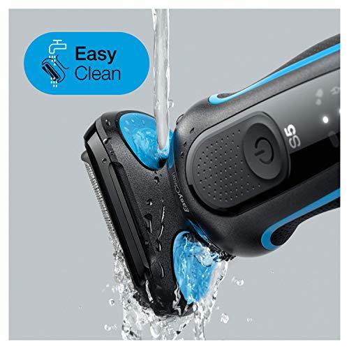 Braun Series 5 50-B1000s Rasoio Elettrico Barba, Wet&Dry, Ricaricabile, Rasoio a Lamina senza Fili, Blu, Idea Regalo Natale
