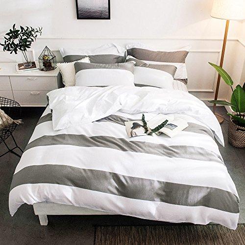 Merryfeel Bettwäsche-Set 2-3 teilige, 100% Baumwolle Garn gefärbt Bettbezug & Kissenbezüge - Grau