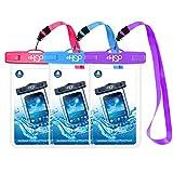HeySplash Custodia Impermeabile per Telefono, 3 Pezzi Borsa Impermeabile IPX8 Completamente Trasparente per iPhone 11 PRO Max/XR/XS Max, Galaxy S20 Ultra/Note 10 Plus - Rosso+Blu+Viola