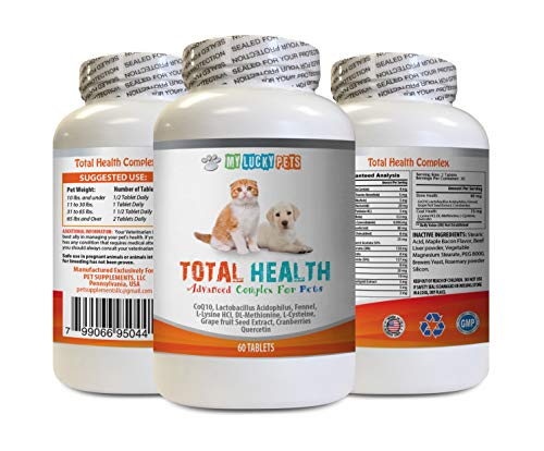 cat Gum Protection - Pets Total Health Complex - Dogs and Cats - Best Hair Skin Eye Teeth Nail Urinary Support - cat Mineral Supplement - 1 Bottle (60 Tablets)