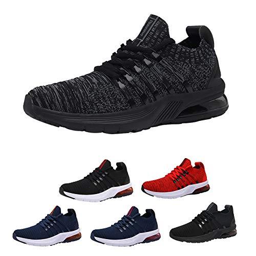 Mężczyźni buty do biegania, buty sportowe typu sneaker, do biegania, tenisa, na czas wolny, do biegania po ulicy, modne, lekkie, oddychające, do chodzenia na świeżym powietrzu, do fitnessu, joggingu, do uprawiania sportu black gray-39