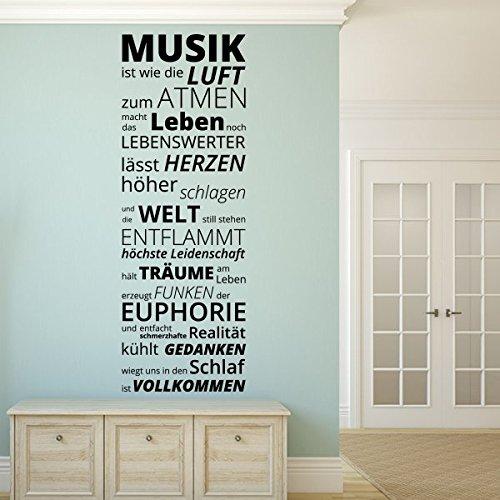 denoda Musik ist wie die Luft zum Atmen. - Wandtattoo Schwarz 50 x 144 (Wandsticker Wanddekoration Wohndeko Wohnzimmer Kinderzimmer Schlafzimmer...