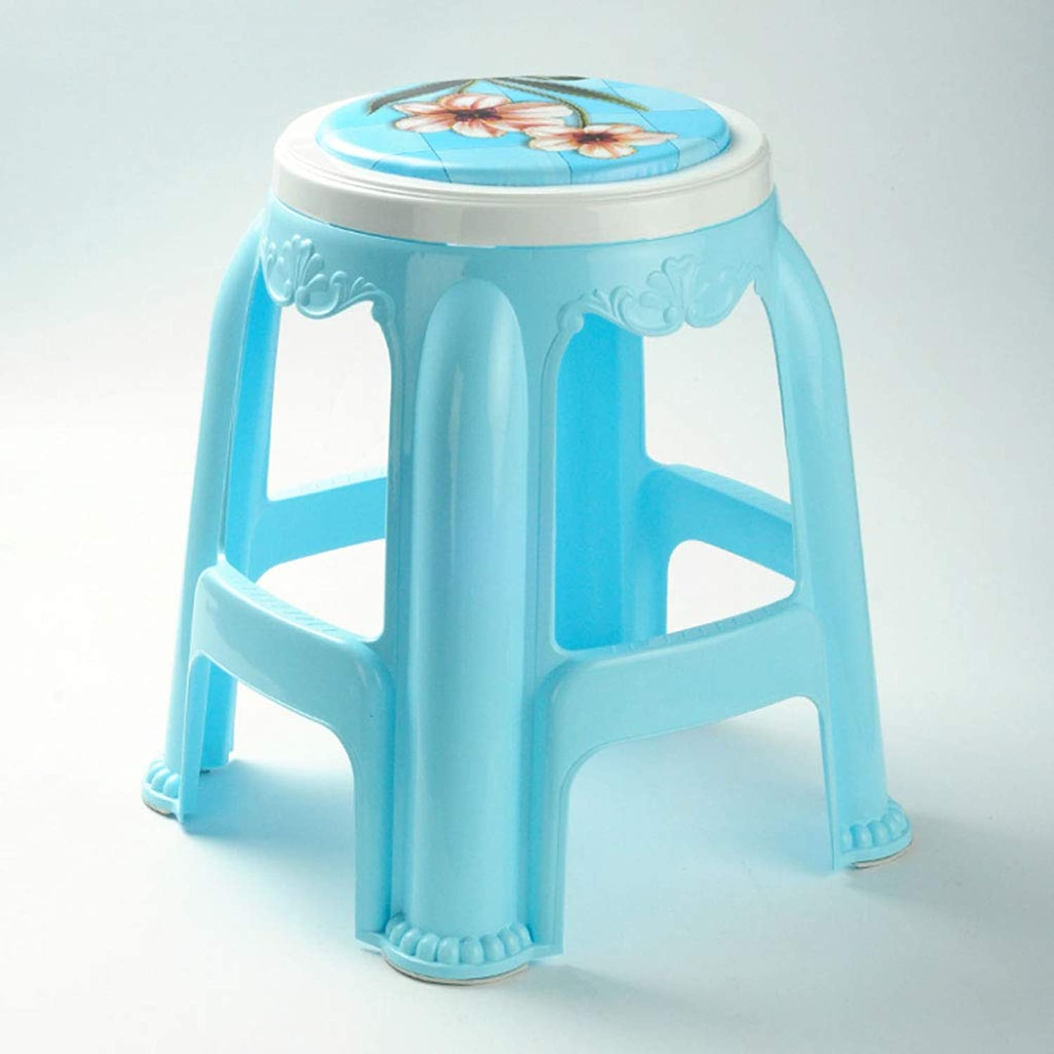 NJ STOOLS- Thick Plastic Stool Adult High Stool Dining Stool Home Bench (color   bluee, Size   31x31x47cm)