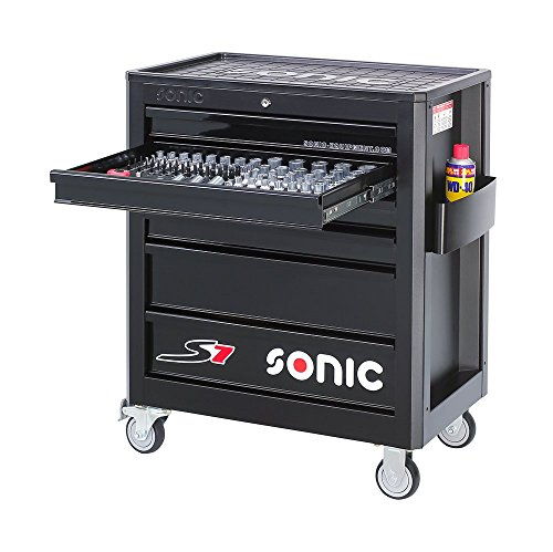 Sonic Werkstattwagen S7 Schaumeinlagen mit 140 Teilen Farbe schwarz