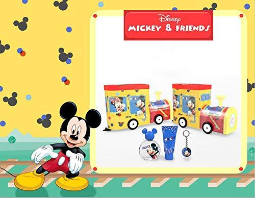 Minnie& Mickey Coffret Cadeau Tête de Train à l'Effigie de Mickey en Métal Eau de Toilette 50 ml/Gel Douche 75 ml/Porte-Clé 4 Unités