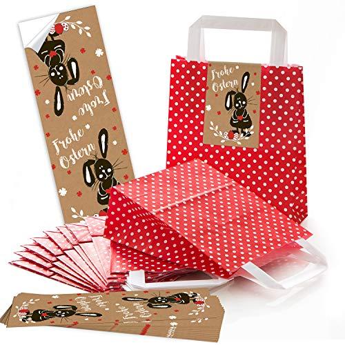 25 kleine ROTE Ostertüten Geschenktasche mit Tragegriff gepunktet 18 x 8 x 22 cm + Osterhase Osteraufkleber 7,2 x 21 cm Text Frohe Ostern Geschenk Etiketten braun weiß schwarz