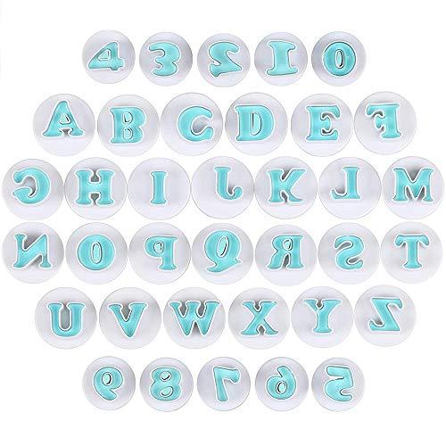 yyuezhi Lecker Ausstecher Buchstaben und Zahlen Fondant Ausstechformen Blau Fondant Cookie Tools Kuchenform Set Alphabet Tortendeko Backen ZubehörSet Brief Cookie Mold Hohe Qualität Cookie Mold 36 Pcs