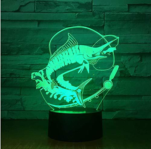 3D Nachtlichter Fernbedienung Angeln 3D Lampe Acryl Stereo Illusion LED Tisch Nacht Kaffee Bar Lampe Fisch essen Köder Kreative Geschenke
