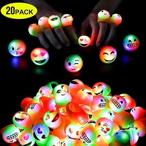 Regalo per la festa di compleanno ai premi per bambini che lampeggiano 20 anelli emoji a LED con bagliore Regalo giocattolo di Natale, ragazza di 5-16 anni ragazzo in forniture per feste scure