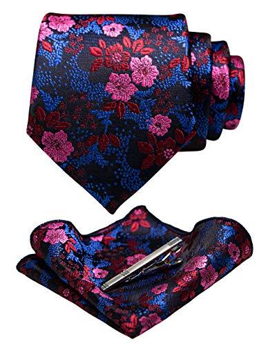 JEMYGINS Blumen Krawatte Seidenkrawatten und Einstecktuch mit krawattenklammer Sets für Herren Hochzeit Schlips(6)