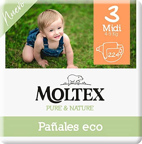 Moltex Pure & Nature Pannolini ecologici Taglia 3 (4-10 kg) - 224 pannolini