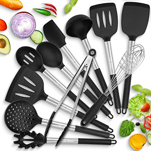 Hot Target 11 Silicone Cooking Utensils With Heat Resistant Handles - Stainless Steel Silicone Kitchen Utensils Set - Silicone Utensil Set Spatula Set - Silicone Utensils Cooking Utensil Set