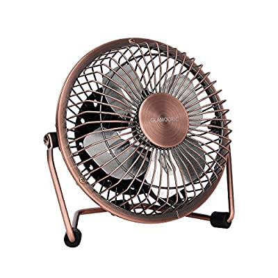 GLAMOURIC Portable USB Powered Desk Mini Fan Vintage Metal Cooler Fan Cooling Mute Quiet - Small Table Fan with Switch on/off, Great for Desktop Tabletop Office & Travel, Extra long 47.24 inch Cable