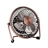 GLAMOURIC Desk USB Fan Quiet Mini Personal Table Fan 4 Inch Small Portable Size 2 Speeds 360° Angle Adjustable Table Cooler for Work Home Office Dorm Study