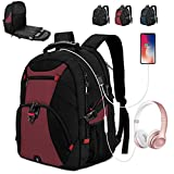 Extra Large Laptop Backpack 17 Inch Travel Waterproof Backpacks Anti Theft College School Business Men Laptops Backpacks with USB Charging Port 17.3 Gaming Computer Backpack for Women Men Red