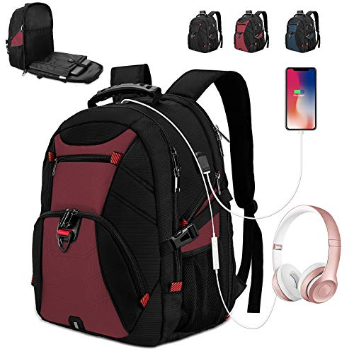 Extra Large Laptop Backpack 17 Inch Travel Waterproof Backpacks College School Business Men Laptops Backpacks with USB Charging Port 17.3 Gaming Computer Backpack for Women Men Red