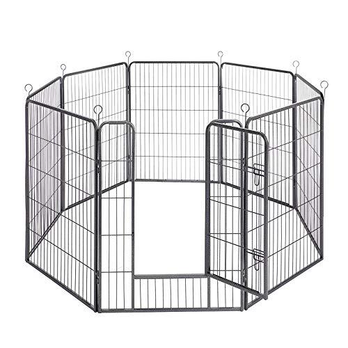 FEANDREA Parque para Perros de 8 Paneles, Jaula para Perros de Gran Capacidad, 77 x 100 cm, Gris PPK81G