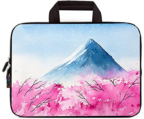 iColor 11.6 12 12.1 12.2 inch Laptop Case Sleeve Protective Bag Briefcase Pouch with Handle (Cherry Blossom and Mount Fuji)