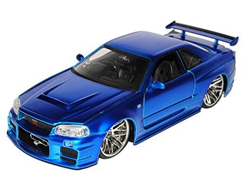 Nissan Skyline GT-R R34 Blau Brian´s Paul Walker The Fast and The Furious 1/24 Jada Modell Auto