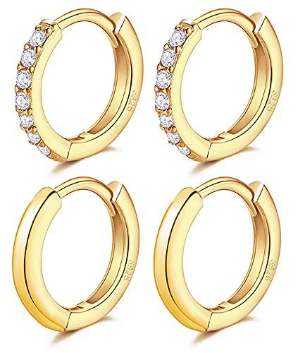 LIHELEI 2 paia Orecchini a Cerchio per Donna in Argento, Huggies Set in argento sterling S925 con Zirconi Cubici (oro)