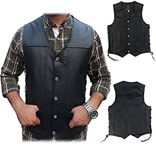 2Fit Men's Black Genuine Leather 10 Pockets Motorcycle Biker Vest New S To 6XL (XL (CHEST 44-46 INCHES))