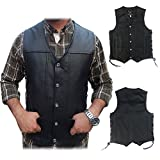 2Fit Men's Black Genuine Leather 10 Pockets Motorcycle Biker Vest New S To 6XL (XXL (CHEST 48-50 INCHES))
