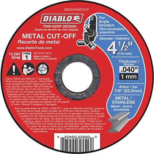 Diablo 4-1/2 in. x 0.040 in. x 7/8 in. Thin Kerf Metal Cut-Off Disc (15-Pack)