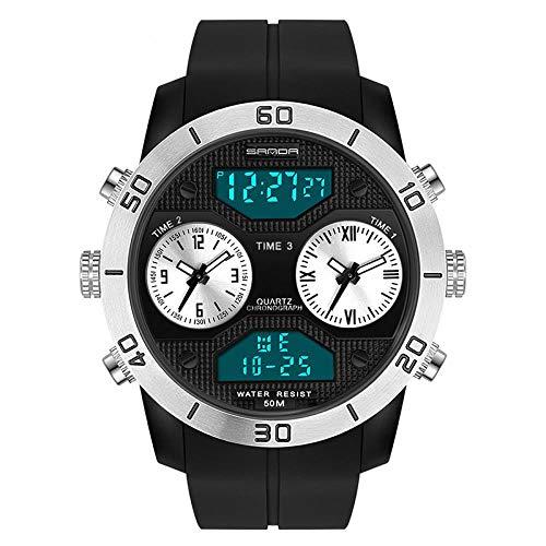 Relojes De Pulsera El Reloj Electrónico Digital Se Divierte El Reloj De La Tendencia De La Moda De Los Hombres Impermeable del Reloj De Alarma Al Aire Libre, Plata Negra