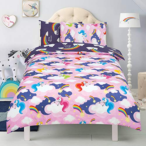Todd Linens Kids 2 in 1 Reversible Quilt Duvet Cover and Pillowcase Bedding Bed Set Polycotton New colourful Designs (Unicorn 'Believe In Your Dreams' Baby Pink, Double)