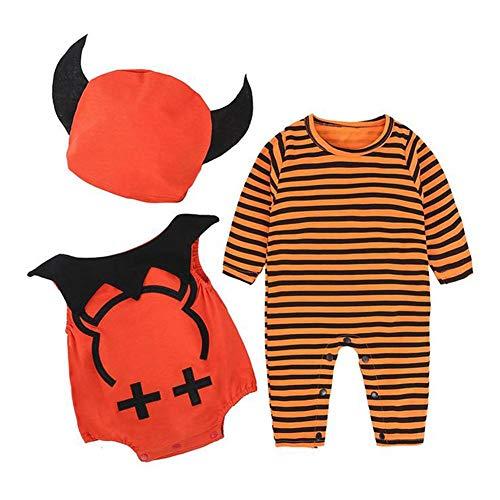 Costume Halloween Bébé Mon 1er Halloween Bébé Garçon Fille Automne Barboteuses Halloween Vêtements Ensembles 3 pièce Chapeaux+ Haut + Pantalon pour 0-24 Mois